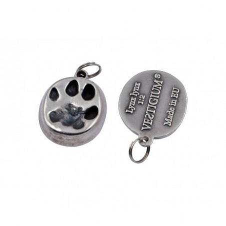 VESTIGIUM® lynx paw silvered metallic pendant reduced size - 1:4