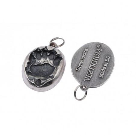 VESTIGIUM® bear paw silvered metallic pendant reduced size -1:7