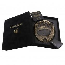 VESTIGIUM® bronze bear paw size 1:1, luxury velvet box, polish cloth and authenticity certificate.