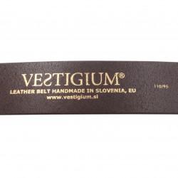 VESTIGIUM® bear paw leather belt detail inside - size stamp